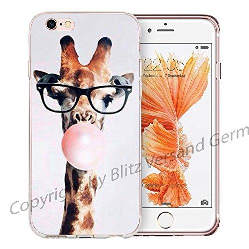 Blitz® LIPS motifs housse de protection transparent TPE caricature bande iPhone Artiste M16 iPhone 7 7s Girafe et chewing-gum M9