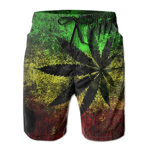 Reggae Jamaica Flag Men's Swim Trunks Beachwear Casual Beach Shorts for Men,Size:XXL (Royal Blue Und White Wedding)