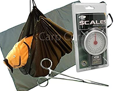 Carp Coarse Fishing Care Set Unhooking Mat Weighing Sling Forceps And Scales from Carp Corner