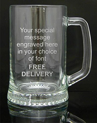 Personalised-Engraved-Pint-Glass-Tankard-Engraved-Luxury-Blue-Gift-Box-Included-Engraved-Free
