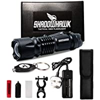 Rechargeable Torch Led Powerful, Torches Led Super Bright, Super Bright Torch, Torches Rechargeable Powerful, Shadowhawk® Military Tactical 18650 Battery Torch 1300 lumens, Warranty for 2 Years