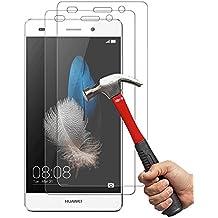 [2-Unidades] Huawei P8 Lite Protector de Pantalla Hepooya P8 Lite Cristal Templado Huawei P8 Lite Cristal Protector [Alta Definicion] [ sin Burbujas] [ 9H Dureza] [Ultra-trasparente] [Anti-golpe] [Ajuste Perfecto] Pantalla Huawei P8 Lite