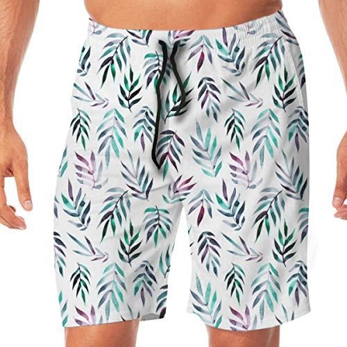 OOworld Men's Swim Trunks Tropical Leaves_3347 Quick Dry Beach Wear Shorts Swimwear with Pockets,L
