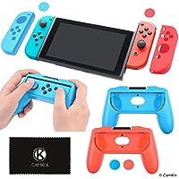 CamKix Kit de Agarre de Nintendo Switch: 2x Cubierta de forma gamepad, 2x Cubierta joy con, 4x Cubierta de agarre para el pulgar, 1x Paño de limpieza – Máxima comodidad de agarre – Ajuste perfecto