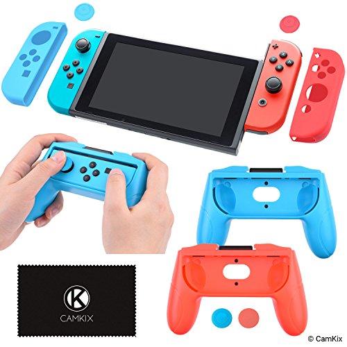 CamKix® Nintendo Switch Grip Boost Kit: 2x Gamepad geformte Cover, 2x Joy Con Cover, 4x Daumengriff-Cover, 1x Reinigungstuch - Maximaler Komfort und Halt - Perfekte Passform - Passende Farben