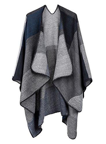 kormei donne elegante Plaid in maglia invernale sciarpe a quadri tartan Poncho Scialle Mantello Grey Taglia unica