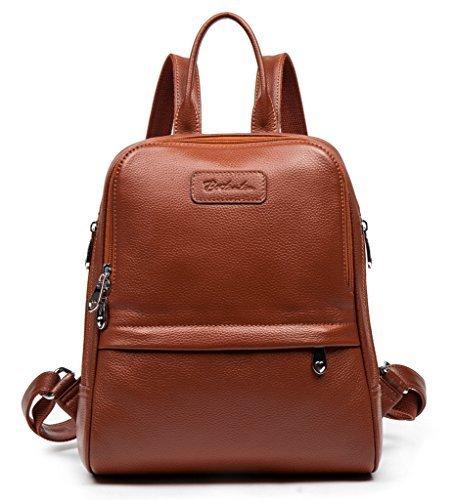 BOSTANTEN Damen Leder Rucksack Backpack Wanderrucksack Reiserucksack Schultasche modisch Kaffee
