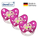 Dentistar® Schnuller 3er Set- Nuckel Silikon in Größe 3, ab 14 Monate - zahnfreundlich & kiefergerecht - Beruhigungssauger für Babys - Bubbles Pink