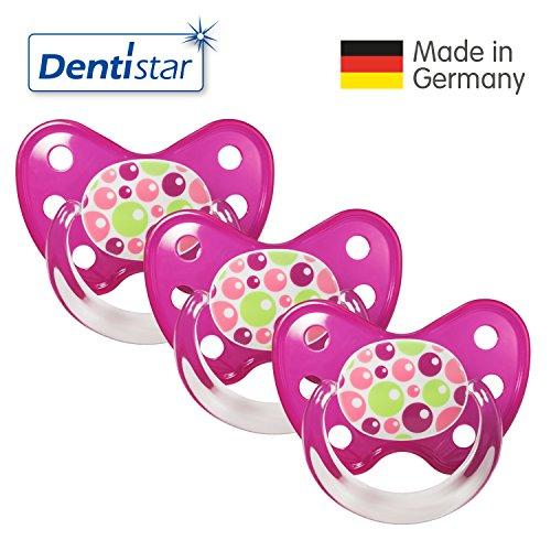 Preisvergleich Produktbild Dentistar® 3er Set Latex-Schnuller - Größe 3, ab 14 Monate - Nuckel zahnfreundlich Naturkautschuk für Babys ab ersten Backenzahn, Bubbles Pink
