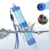 Filtre d'eau, Bingogous filtre à eau à pression portable, Purificateur d'eau éliminer 99,99% de bactéries, pour la camping et Randonnée Eau potable sauvage Survie d'urgence (bleu)