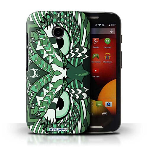 Kobalt® Imprimé Etui / Coque pour Motorola Moto E (2014) / Loup-Couleur conception / Série Motif Animaux Aztec Hibou-Vert