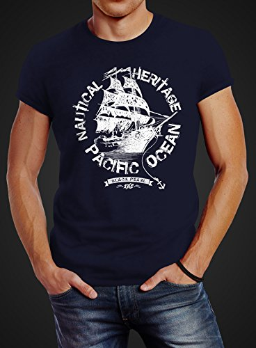 Herren T-Shirt Segelschiff Piratenschiff Slim Fit Neverless® Schiff navy