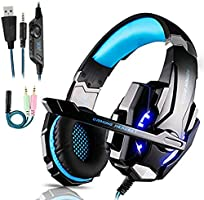 Auriculares Gaming PS4,Cascos Gaming de Mac Estéreo con Micrófono Cascos Gaming 3.5mm Jack con Luz LED Bass Surround y...