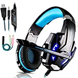 Cuffie Gaming per PS4 Cuffie da Gaming con microfono e Bass stereo Cuffie da Gioco con 3.5mm Jack LED e Controllo Volume Gaming Headset per PS4/Xbox One/Nintendo Switch/PC/MAC/Laptop/Tablet (blu)