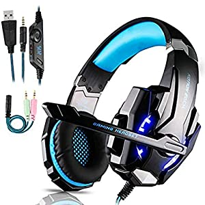 FUNINGEEK Gaming Headset für PS4,PC Xbox One Gaming Kopfhörer mit Mikrofon Stereo Surround Bass Sound 3.5 mm Schnittstelle mit LED Licht Professional Headset für Nintendo Switch/Laptop/Mac/Tablet