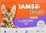 Iams Delights, Cibo Umido per Gatti Cuccioli e Giovani, 1-12 Mesi, Pollo in Salsa, 1.02 kg