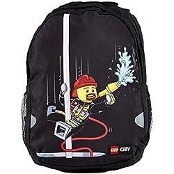 Lego Extendida Vline City Fire Mochila Escolar, 42 cm, 21 litros, Negro