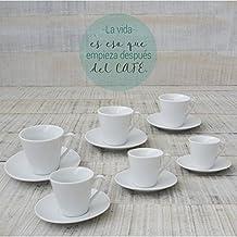 Juego de Café Barista Classic de 6 tazas y 6 platos de cerámica blanca. Hogar y mas
