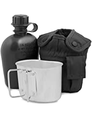 Gourde à eau militaire ALICE, noire avec couvercle, gobelet et attache pour camping et randonnées