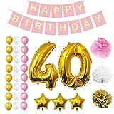40º Cumpleaños Decoraciones - Fiesta Bandera Conjunto con Globos, Pom Pom, Látex Frustrar Globos 32 piezas por Belle Vous - Oro, Blanco & Rosado Fiesta Suministros para Adultos