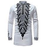 Youthny Herren Afrika T-Shirt Langarm Traditionell Weiß Dashiki Shirt Oberteile Afrikanische Kleidung