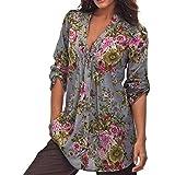 Wolfleague Blouse Vintage Femme Chic Col en V Imprimé Floral Pull Femme Chemises Grande Taille Manche Longue Tunique Tops T-Shirt S ~ 6XL (6XL, Gris)