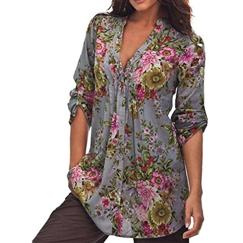 Tops Damen Bluse Langarm Sweatshirt Xinan Frauen Vintage Floral Print V-Neck Tunika Women Plus Size Tops (XL, Grau) (Plus Drucken Größe Tunika)