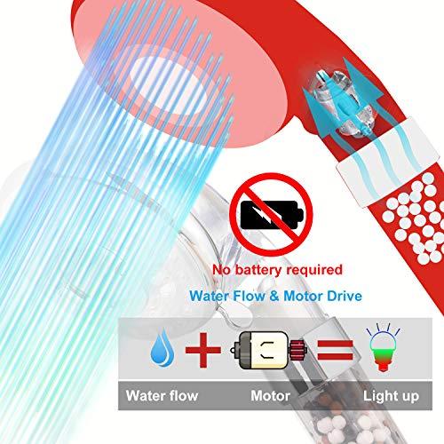 Diyife Alcachofa Para Ducha, Cabezal de ducha LED 3 Colores Cambiantes Temperatura Controlada Alta Presión Rociador Iónico Negativo Doble Filtro Cloro Ahorro de Agua Prevenir la Piel Seca