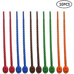 Pawaca Wiederverwendbare Silikon-Kabelbinder – Set von 8 bunten Mehrzweck-Tüten-Clips, 17,8 cm Drahtbindern für Büros, Küche, Garage, Schlafräume.