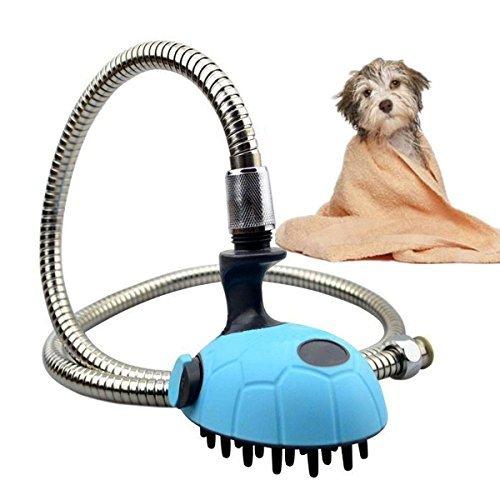 owikar Multifunktional Hund Dusche Kopf mit Schlauch Badewanne Pet Dusche Pinsel Pet Pflege Waschen und Massagegerät Handbrause mit Edelstahl-Schlauch für Hunde und cats- blau (360 Fuß-massagegerät)