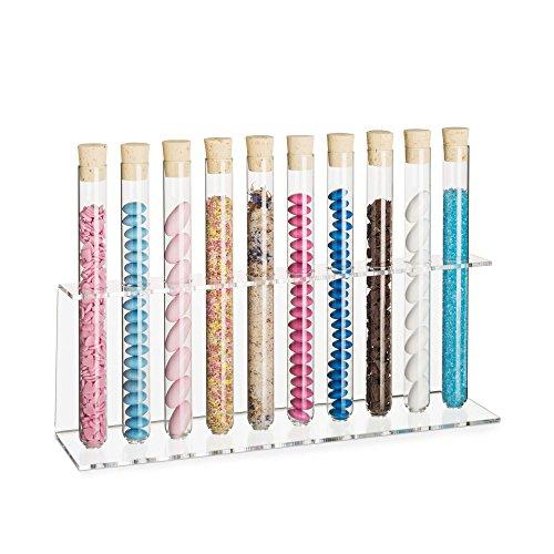 Tuuters Acryl Reagenzglasständer mit Reagenzglas | Reagenzglashalter | Gewürzregal | Inklusive Natur-Korken ✓ (10-Loch Ø18mm Einreiher +Glas)