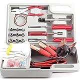 DOBO® Kit di Emergenza Auto e Moto in Valigetta 30 Accessori per ripristino e avviamento - Cavi fusibili pinze Nastro Guanti bussole