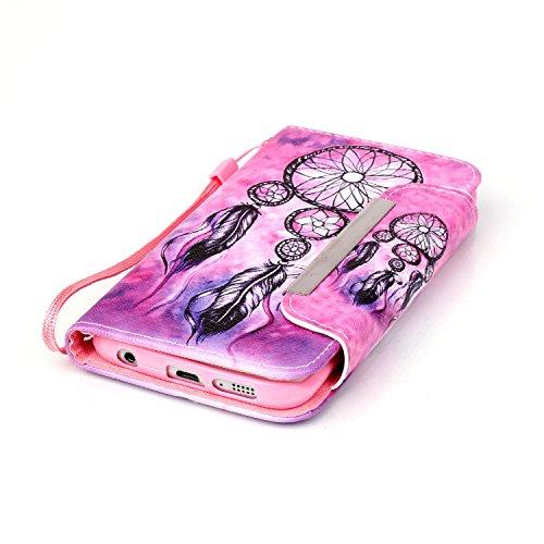 Galaxy S6 Edge Hülle, PU Leder Hülle für Ledertasche Schutzhülle Case[Stand Feature] Flip Case Cover Etui mit Karte Slots Hülle für Samsung Galaxy S6 Edge Pinknet