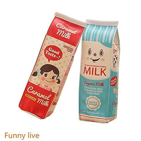 funnylive Creative Milch Kartons Bleistift Fall wasserdicht PU Stift Tasche, (Set von 2, zwei Taschen)