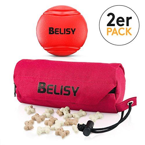Intelligentes Hundespielzeug Set von BELISY - Spaßiger Hundeball (7 cm) & Futterdummy für große Hunde - Futterbeutel zum Apportieren - Bissfester & springender Spielball - Intelligenzspielzeug