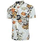 YOUTHUP Men's Hawaiian Shirts Short-Sleeved Flower Parttern Fancy Beach Shirt