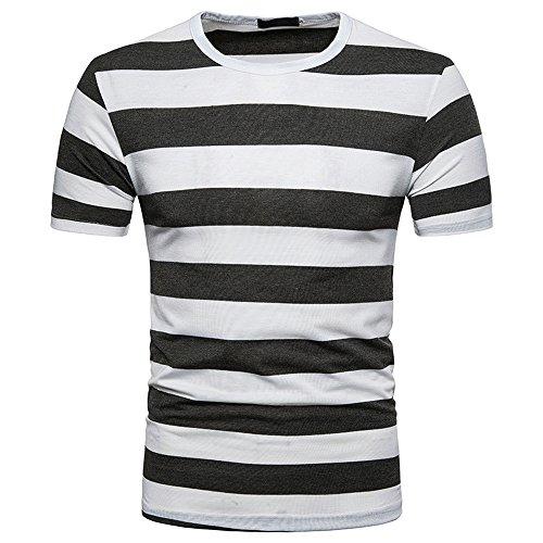 BURFLY Herrenhemd Herren Herrenhemd Herren Sommer Casual V-Ausschnitt Pullover T-Shirt Sport Gestreift Shirt (2XL, DUNKELGRAU)