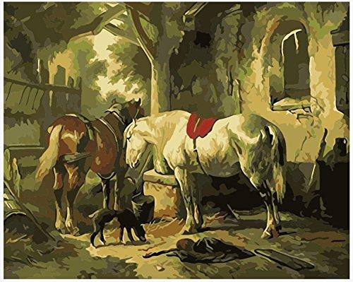 WOWDECOR DIY Malen nach Zahlen Kits Geschenk für Erwachsene Kinder, Malen nach Zahlen Home Haus Dekor - Weißes Braunes Pferd Schwarz Hund 16 x 20 Zoll (X7037, Ohne Rahmen)