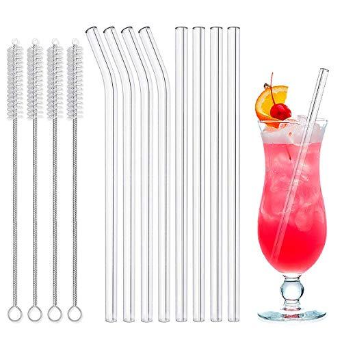 LAKIND Glas Strohhalm Wiederverwendbar Glas Trinkhalme Eco Nachhaltige Strohhalme für Cocktail Smoothie Tee, 8er Set Mit 4 Reinigungsbürsten (Gebogen 4 + Gerade 4)