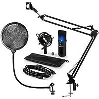 auna MIC-900B-LED Set micrófonos estudio V4 • Micro condensador USB • Negro