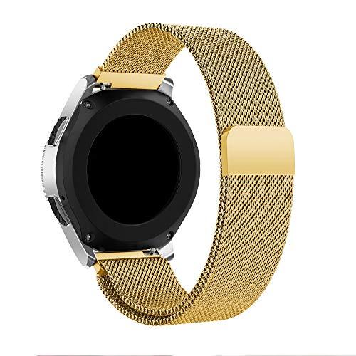 SEWORLD Ersatzarmbänder Kompatibel für Samsung Galaxy Watch 46mm 42mm Ersatz Zubehör Mode Milanese Magnetic Loop Edelstahlarmband Armbandersatz Uhrenarmband Armband Handschlaufe(Gold)