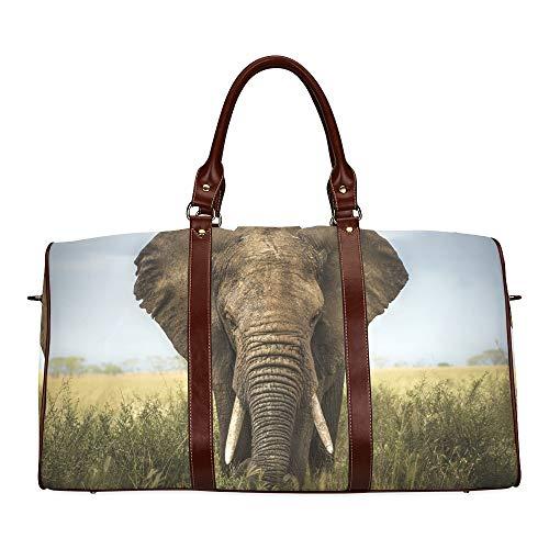 Reisetasche Riesiger Grauer Elefant mit Zwei elfenbeinfarbenen Wasserdichten Weekender-Taschen Tragetasche für die Nacht Frauen Damen-Einkaufstasche Mit Mikrofaser-Leder-Gepäcktasche
