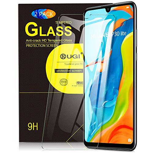 KuGi. pour Verre trempé Huawei P30 Lite, [Dureté 9H] HD Ultra Transparent Protection écran en Verre trempé pour Huawei P30 Lite (Pack de 2)