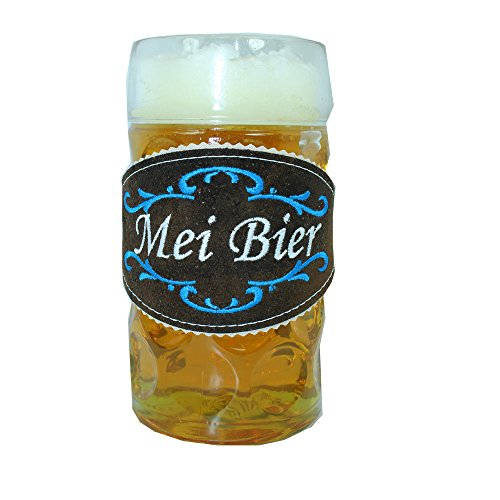 Glasmarkierer Biertracht für Maßkrug 1l - Biertracht. Mei Bier - ein echtes Männergeschenk mit blau