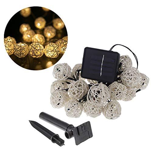 Mobestech Cotton ball light rattan string light solar lawn lamp for home outdoor garden bar wedding party decoration(Warm Yellow Light) - Outdoor Party Bar
