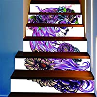 ZXFMT@ Diy 3D Purple Flower Stairs Stickers Floor Step Staircase Beautiful Purple Hair Stickers Home Decor Evil Flower Stairs Stickers