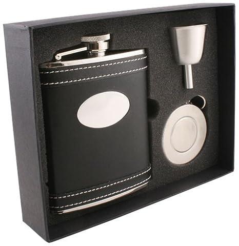 Visol Marlon Leather Stellar Flask Gift Set, 6-Ounce, Black by Visol