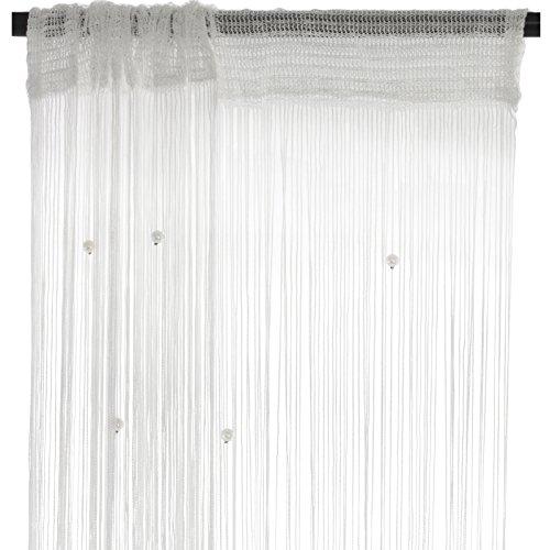 Smartfox Fadenvorhang 140 x 250 cm in Weiß mit Perlen Fadengardine Fadenstore Vorhang Schal Faden