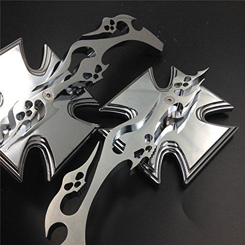 Malteser Kreuz Emblem Motorrad verchromtem Running Acryl Spiegel für alle Yamaha Cruiser Fahrräder Royal Star Stratoliner Roadliner Road Star V-Star Warrior mehr Virago von HTT (Flamme Motorrad Spiegel)