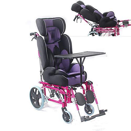 ZYT 2-in-1-Kinder Abnehmbar Rosa Rollstuhl,42cm breiter Sitz, liegend, Beine hochlegen,mit Tisch Fünf Punkte Sicherheitsgurt für Kinder